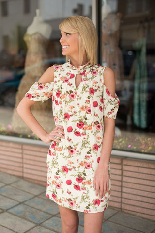 Cold Shoulder Collared Floral Dress - by-Simply-Southern-Pretty-Please-on-Broad-Boutique