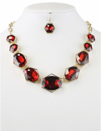Crystal Necklace Set - Red - Pretty Please on Broad