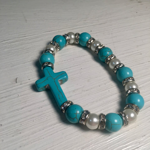 Turquoise Cross Beaded Bracelet