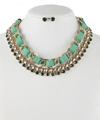 Green Crystal Ribbon Necklace - Pretty Please on Broad