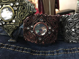 Ornate Hinged Cuff Bracelets Lightweight Blingy Jeweled Trending Unique Jewelry_Pretty Please on Broad Online Boutique Altavista VA