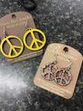 Trending Lightweight Colorful Handmade Made in USA Green Tree Wooden earrings Peace Sign large Hippie Flower Child_Pretty Please on Broad Online Boutique Altavista Lynchburg Forest VA New Orleans