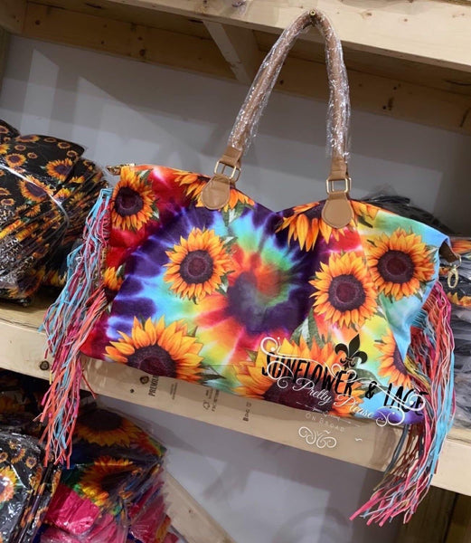 That Fabulous Tie-Dye Sunflower Fringed Bag