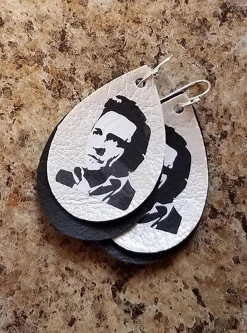 Johnny Cash Faux Leather Earrings