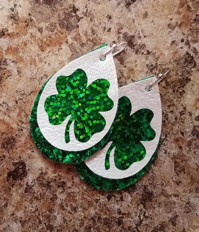 Green Irish Clover Faux Leather Earrings St Pattys Patricks Day Irish Green_Pretty Please on Broad Online Boutique Altavista