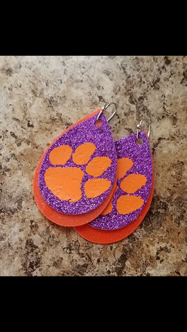 Clemson Tigers Paw All In Go Tigers Vinyl Faux Leathee Earrings_Pretty Please on Broad Boutique