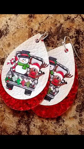 Frosty the Snowman Rudolph the Red Nosed Reindeer pickup truck Christmas fun vinyl earrings_Pretty Please on Broad Boutique