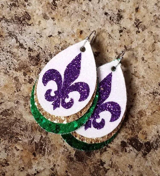 Fleur de Lis Faux Leather Earrings Mardi Gras Fat Tuesday NOLA new orleans saints_Pretty Please on Broad online boutique altavista