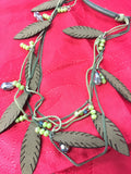 Green corded Leather Feather Necklace set
