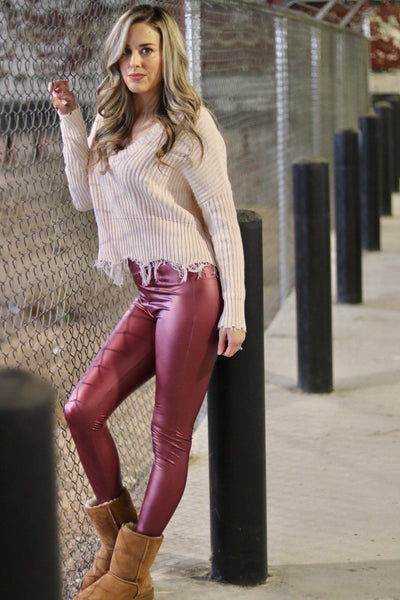 Show Stopper Faux Leather Liquid Leggings - Pretty Please on Broad