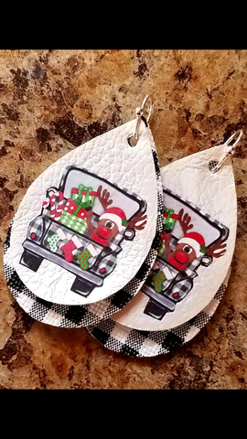 Christmas Rudolph Old Vibtage Truck Vinyl Faux Leather Buffalo Plaid Earrings_Pretty Please on Broad Boutique