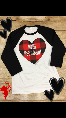 """Be Mine"" Valentines Day Gifts for Her Baseball Jersey Tee TShirt_Pretty-Please-on-Broad-Online Boutique Altavista"