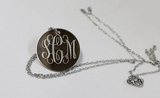 Silver Engraved Monogram Necklace