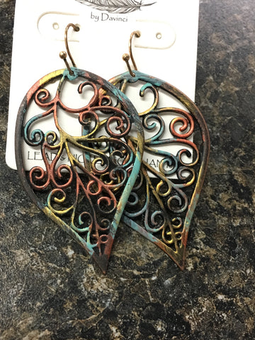 Leaves of Fall Patina Earrings