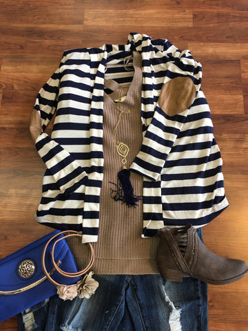 Navy Striped Cardigan with Suede Elbow Patch