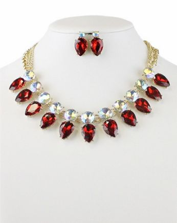 Red Crystal Necklace Set - Pretty Please on Broad