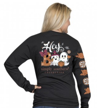 Simply Southern Preppy Collection Fall Hey Boo Long Sleeve T-Shirt in Black