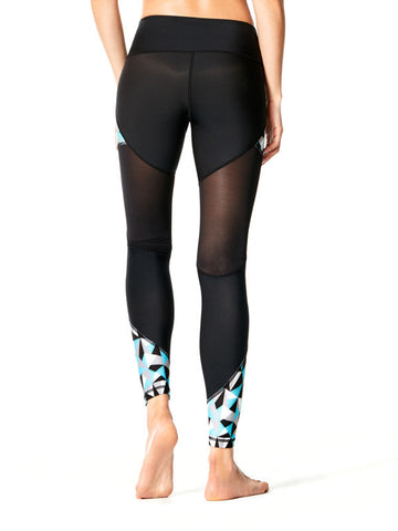 Geo Tri-Metric Turquoise Printed Danica Tight - Karma Athletics Active Wear - back