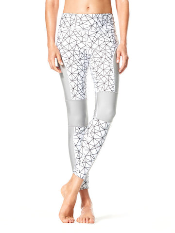 Shatter Glass White Printed Allyson Tight - Karma Athletics Active - front