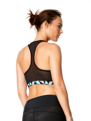 Geo Tri-Metric Turquoise Printed Steffi Bra - Karma Athletics Active - back