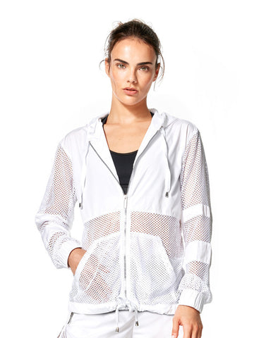 White Roxie Jacket - Karma Athletics Apres Workout - front