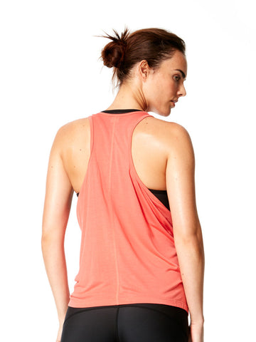 Vivid Coral Skylar Tank - Karma Athletics - back