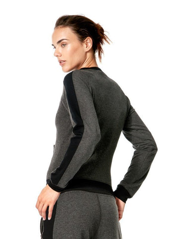 Heather Charcoal Mix Gina Jacket - Karma Athletics Apres Workout - back