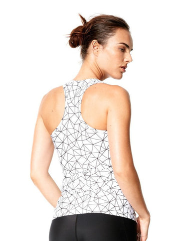 Shatter Glass White Printed Amber Tank - Karma Athletics Active - back