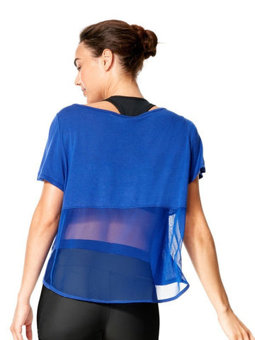 Surge Blue Kara Tee - Karma Athletics - mesh back