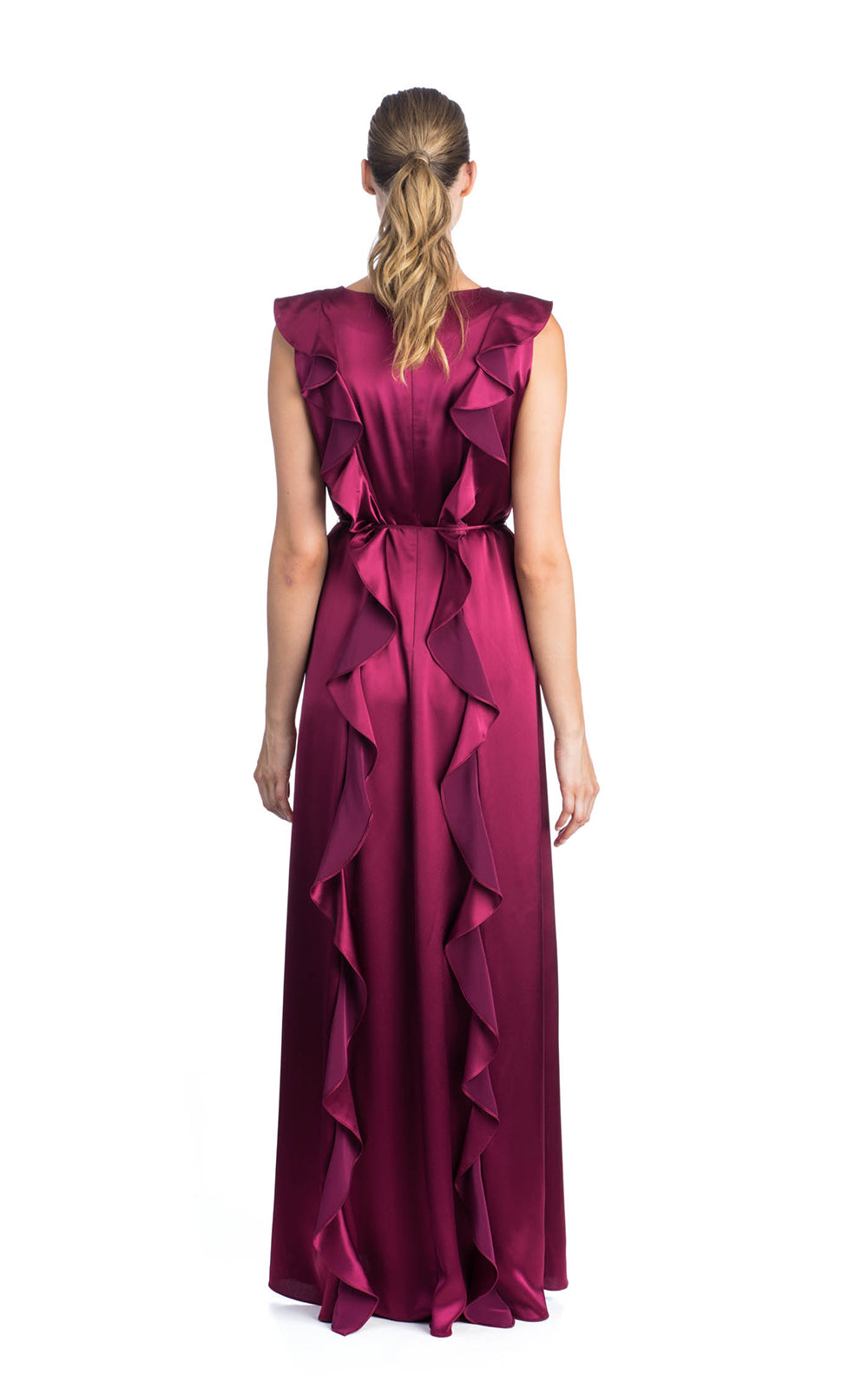 ZAC Zac Posen Fall 216 Jojo Gown Wineberry Hammered Charmeuse Sleeveless Ruffle Detail Tie At Waist Jewel Neckline Slim Fit Back