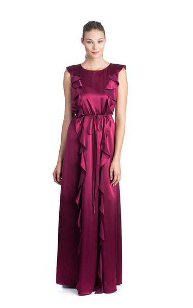 ZAC Zac Posen Fall 216 Jojo Gown Wineberry Hammered Charmeuse Sleeveless Ruffle Detail Tie At Waist Jewel Neckline Slim Fit Front