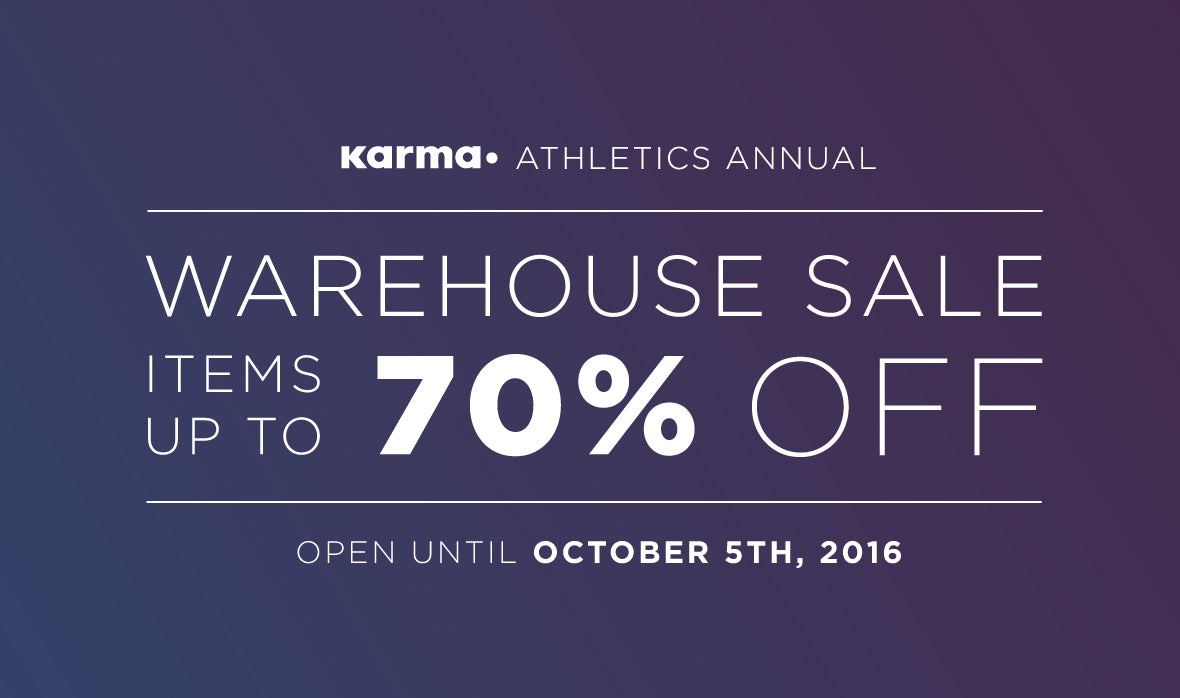 Karma Athletics Annual Warehouse Sale - Up to 70% off