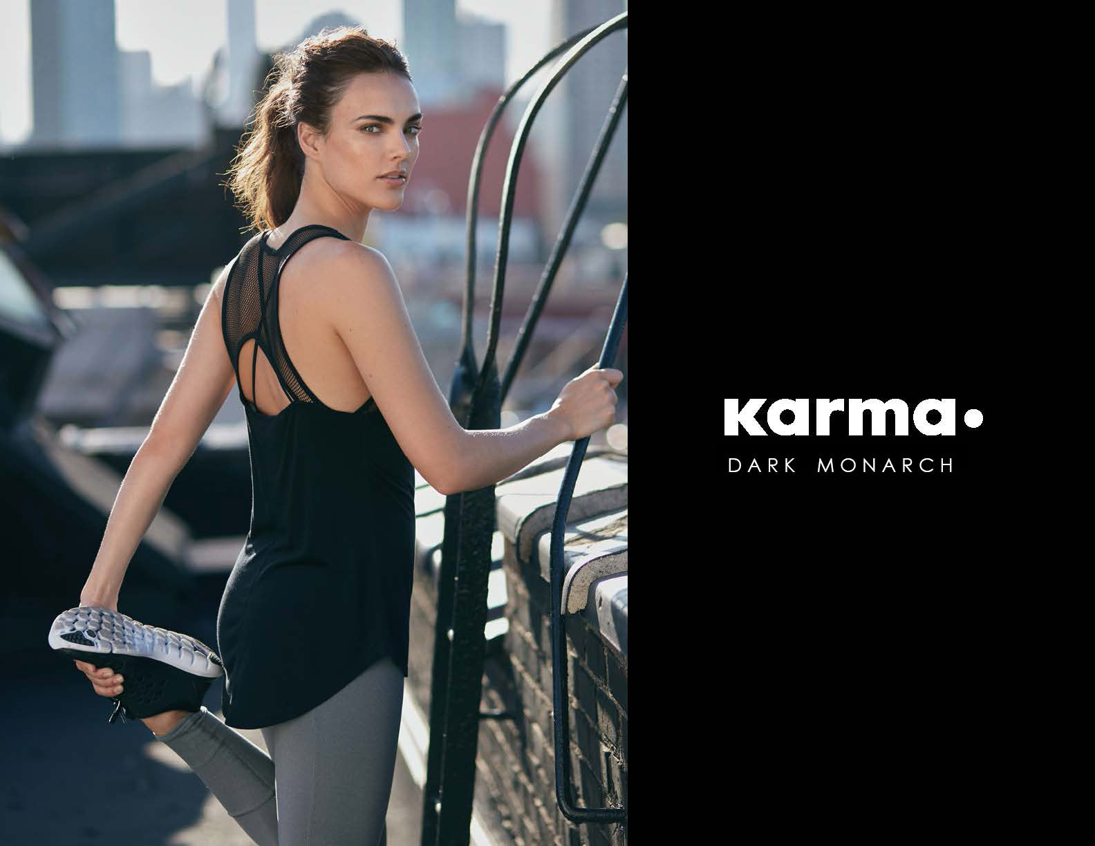 Karma Athletics Dark Monarch Collection Black Beatrix Tank and Grey Yama Tight Outdoor Activewear