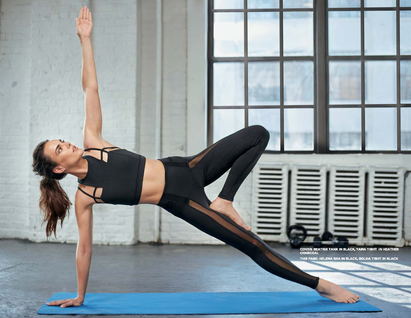 Yoga Pose on Mat with Helena Bra & Golda Tight Black Outfit by Karma Athletics