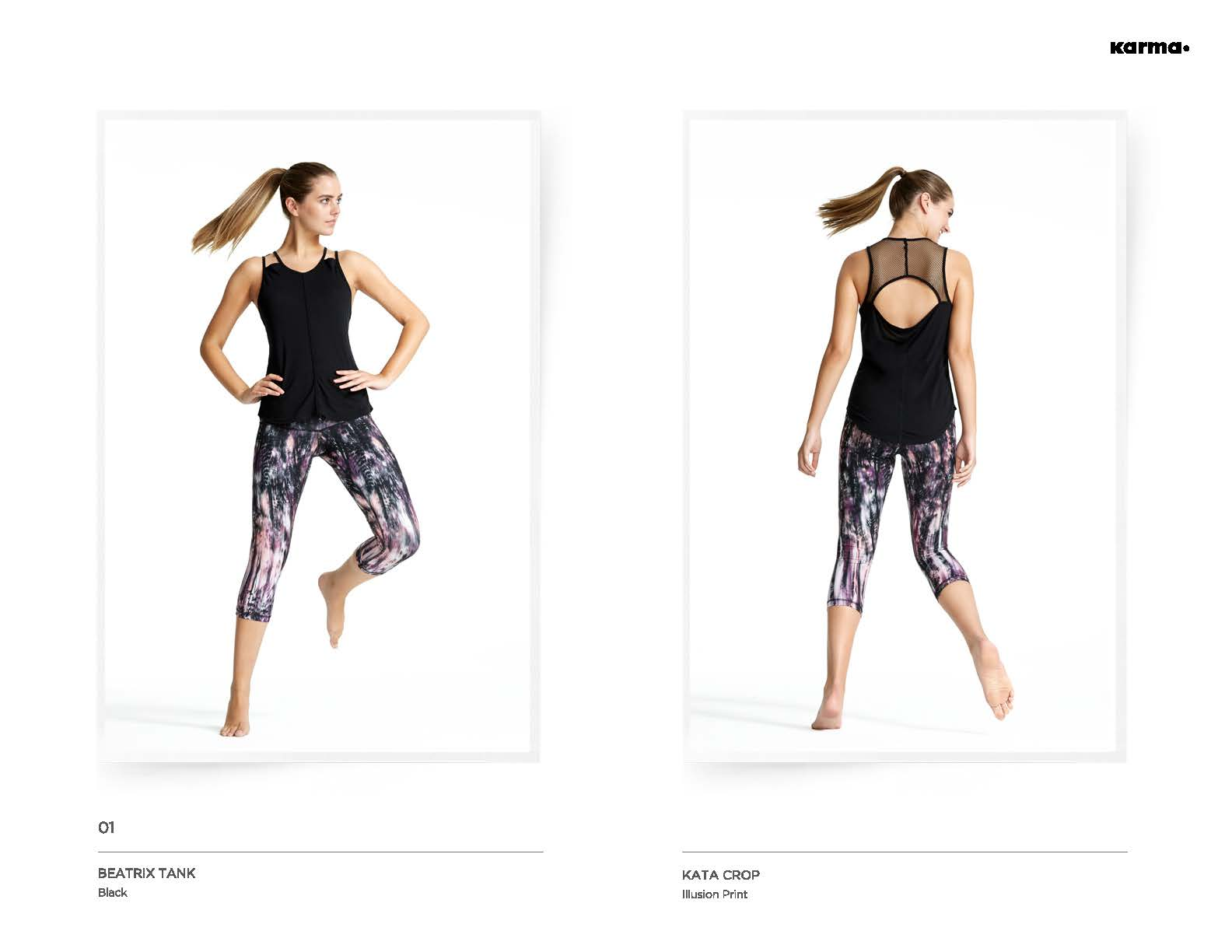 Beatrix Tank & Illusion Printed Kata Crop Outfit for workout by Karma Designer