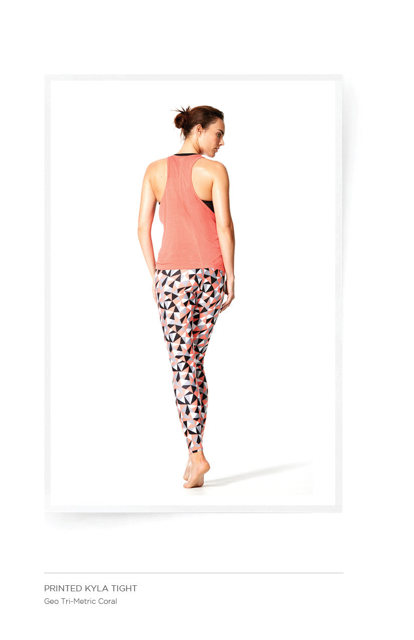 Printed Kyla Tight - Geo Tri-Metric Coral