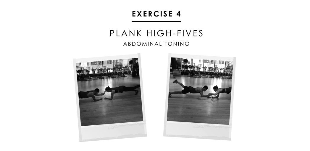 Partner exercise 4 - Plank High Fives: abdominal toning