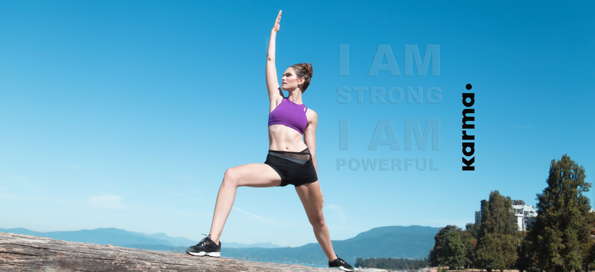 Yoga Sports Bra & Fitted Exercise Shorts. Goddess Pose: I am strong. I am powerful.
