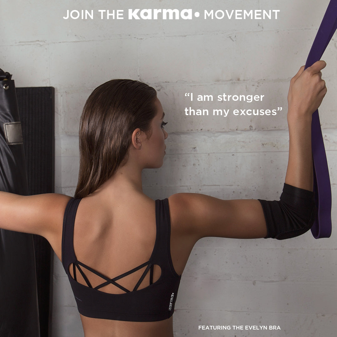 Be stronger than your excuses in Karma Kore black sports bra