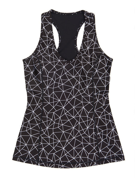 Shatter Glass Black Printed Amber Tank - Karma Athletics