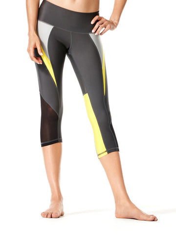 Alloy/Blazing Yellow Camille Crop - Karma Athletics Active - front