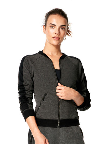 Heather Charcoal Mix Gina Jacket - Karma Athletics Apres Workout - front