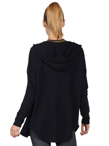 Maya Cardigan - Black sweater with hood