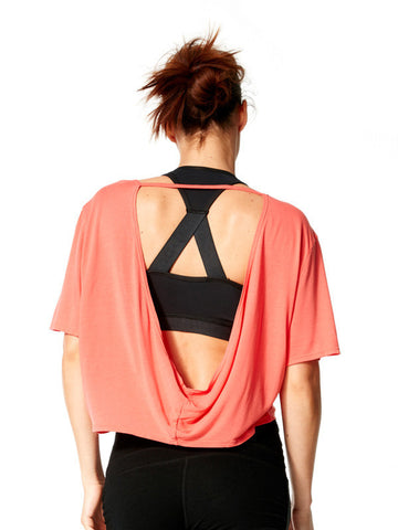 Vivid Coral Nadia Tee - Karma Athletics - back