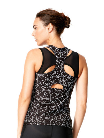 Shatter Glass Black Printed Alana Tank - Karma Athletics Active - back