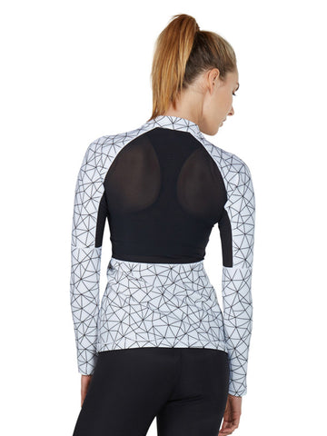 Shatter Glass White Printed Clara Jacket - back - Karma Athletics
