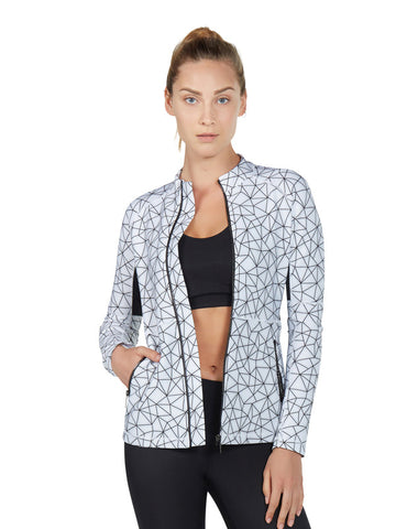 Shatter Glass White Printed Clara Jacket - Karma Athletics