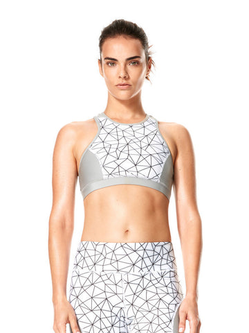 Shatter Glass White Printed Felix Bra - Karma Athletics Active - front