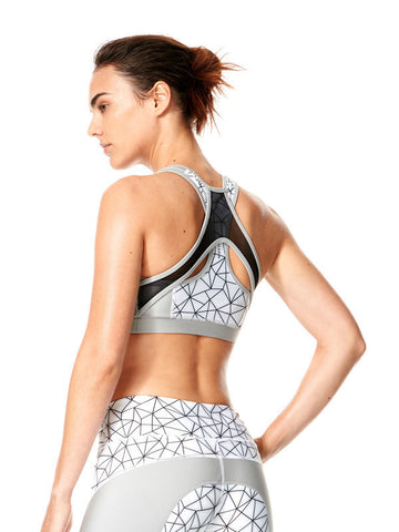 Shatter Glass White Printed Felix Bra - Karma Athletics Active - back