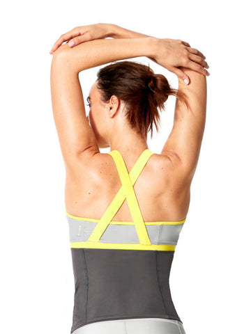 Alloy/Blazing Yellow Vanessa Tank - Karma Athletics Active - back